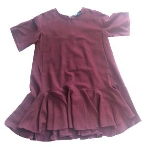 Maroon French Connection Dress, slight high low